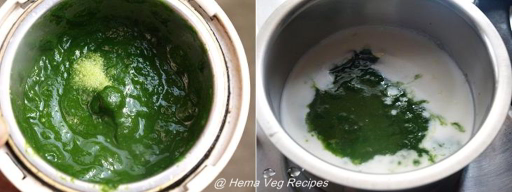Palak or Spinach Tambli or Tambuli Preparation