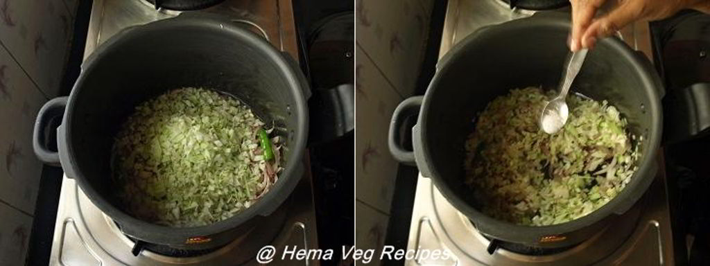 Cabbage Pulao Preparation