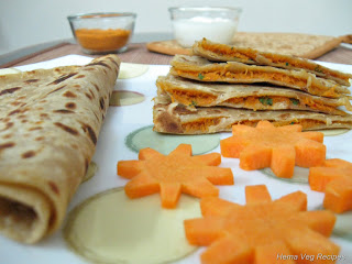 Carrot Cheese Paratha or Parota