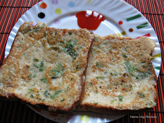 Cheese Dal Bread Toast or Veg Omelette