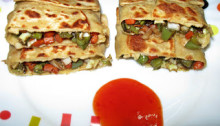 Stuffed Vegetable Roti with Sauce