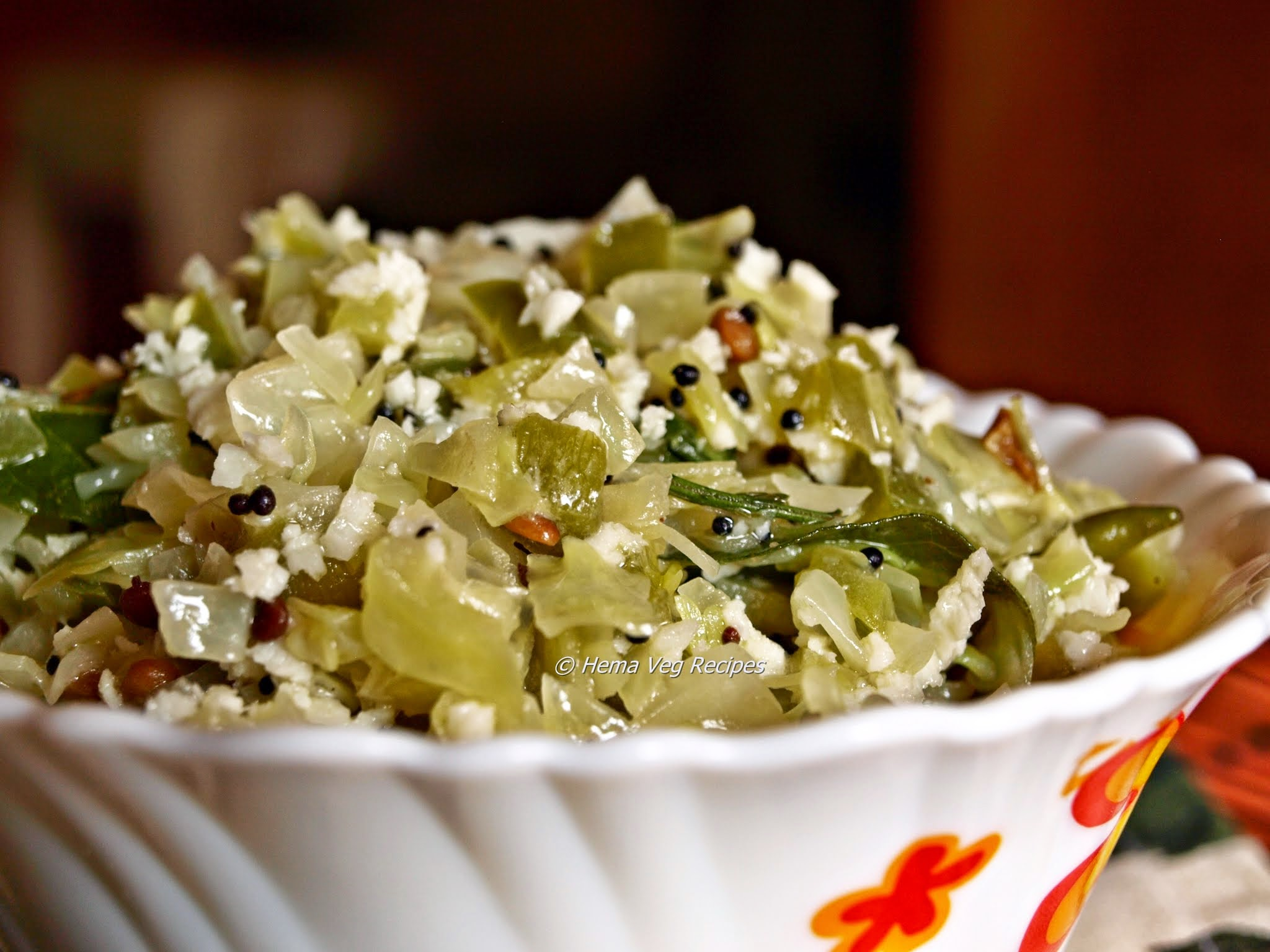 Cabbage-Capsicum Palya or Sabji
