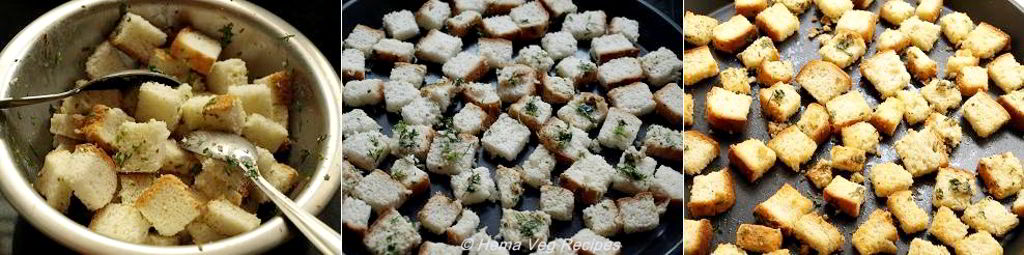 Homemade Croutons Preparation in Oven