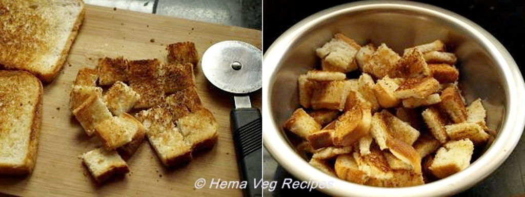 Homemade Croutons on Tawa Preparation