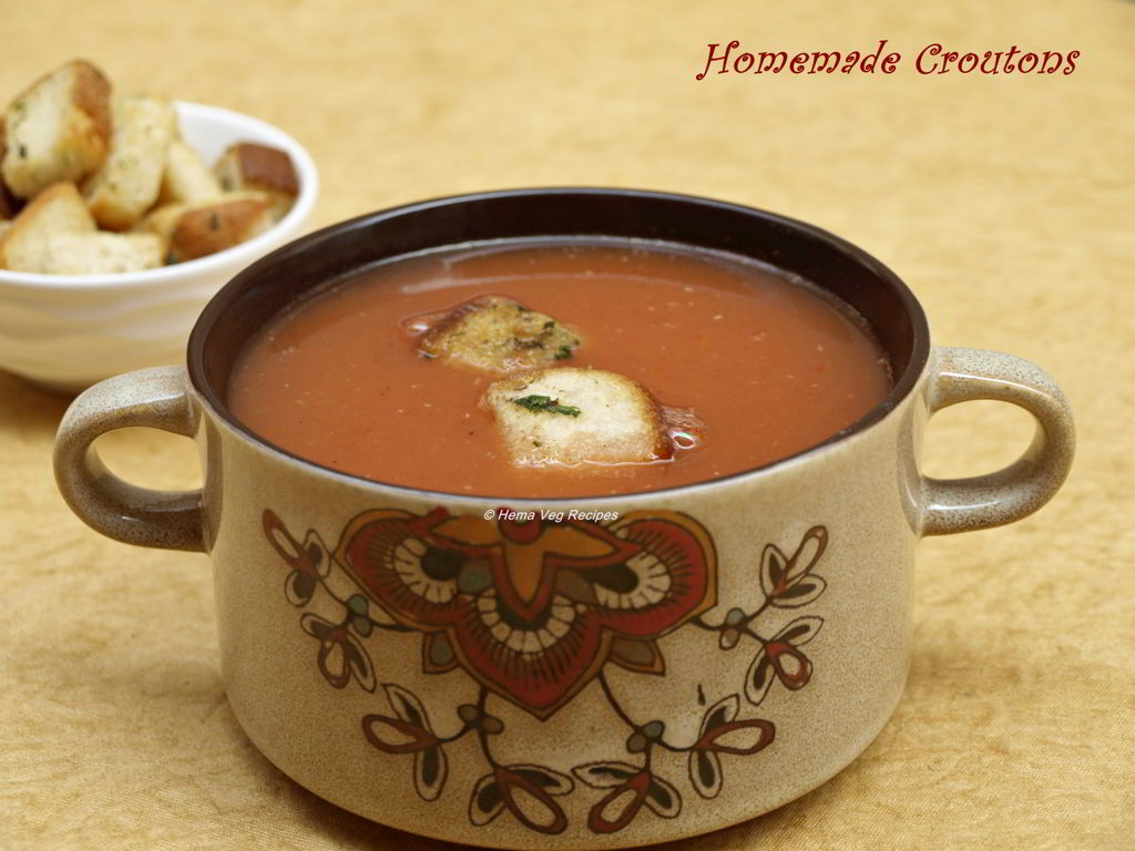 Homemade Croutons with Tomato Soup