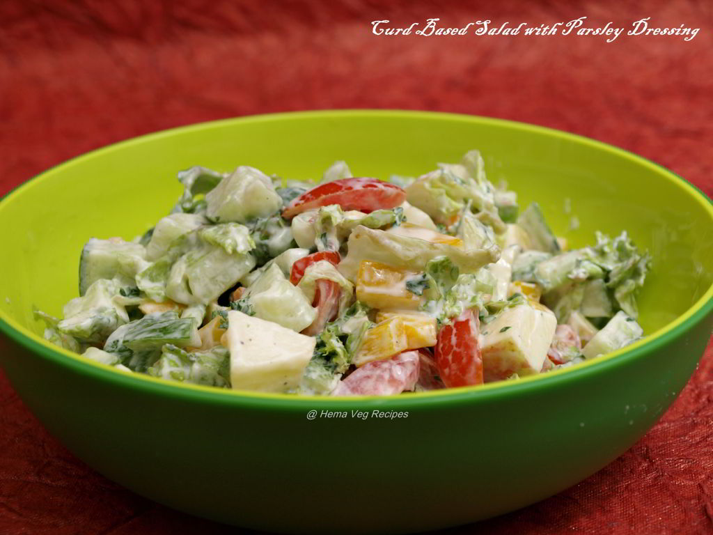 Curd Based Salad With Parsley Dressing