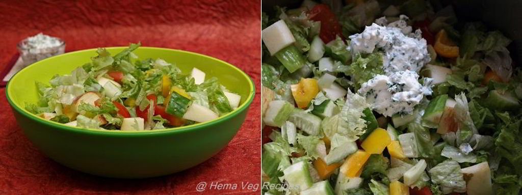 Curd Based Salad With Parsley Dressing Preparation