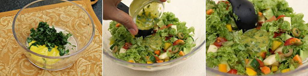 Healthy Salad with Lemon Basil Mustard Dressing preparation