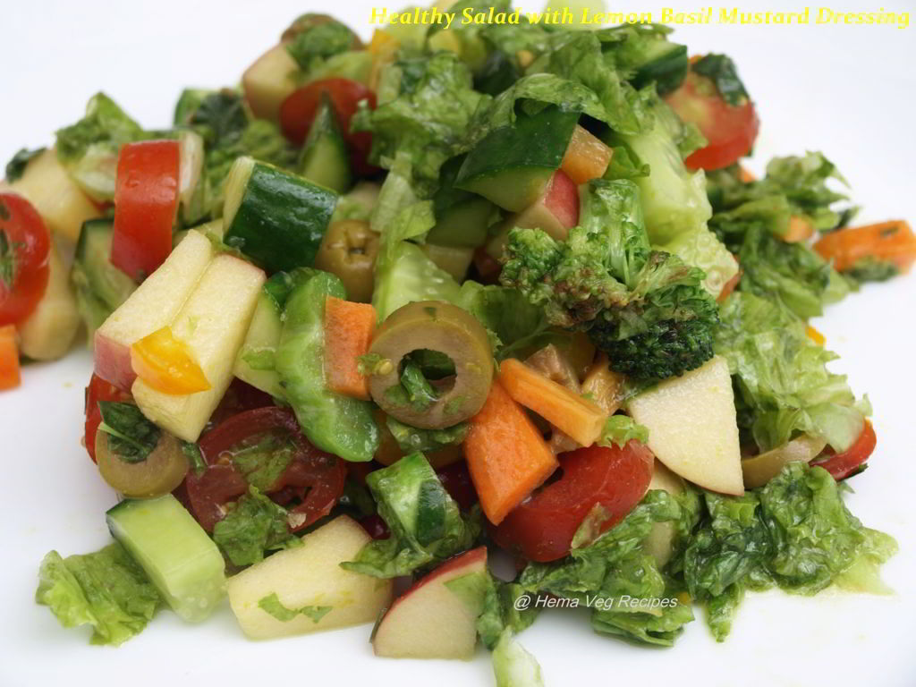 Healthy Salad with Lemon Basil Mustard Dressing