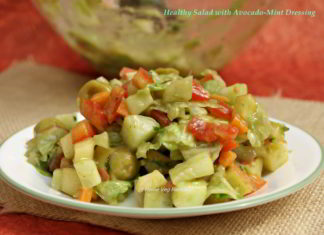 Healthy Salad with Avocado-Mint Dressing