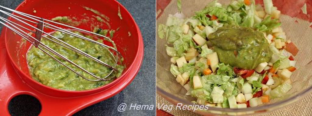 Healthy Salad with Avocado-Mint Dressing Preparation