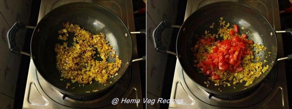 Onion-Tomato-Carrot Sabji Preparation