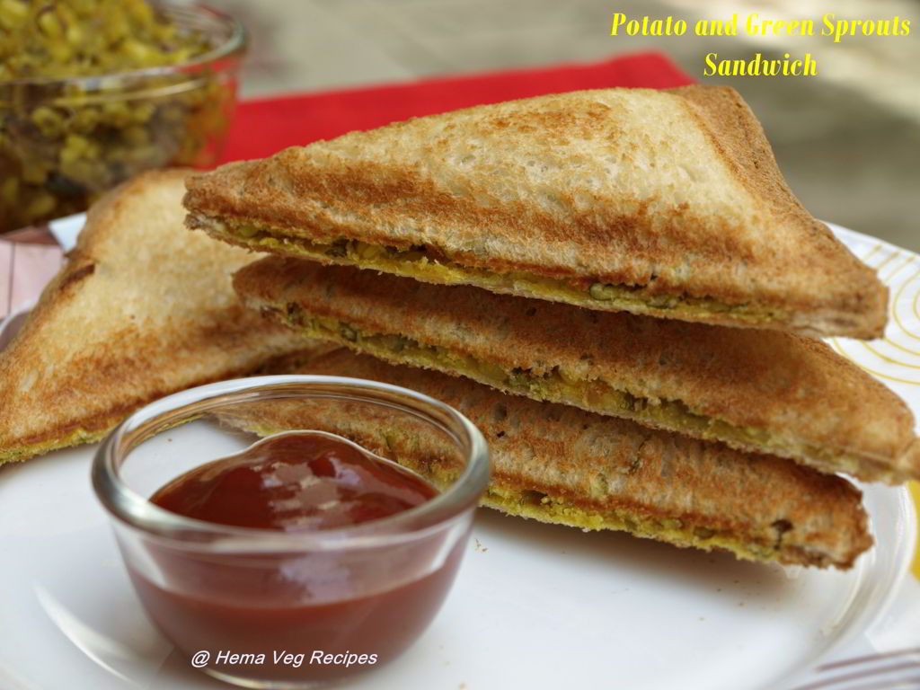 Potato and Green Sprouts Sandwich