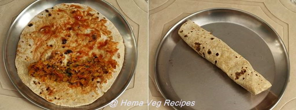 Chapati Roll Using Onion Tomato Carrot Sabji Preparation