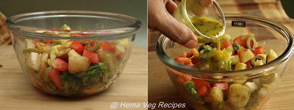 Healthy Salad with Rosemary Dressing Preparation