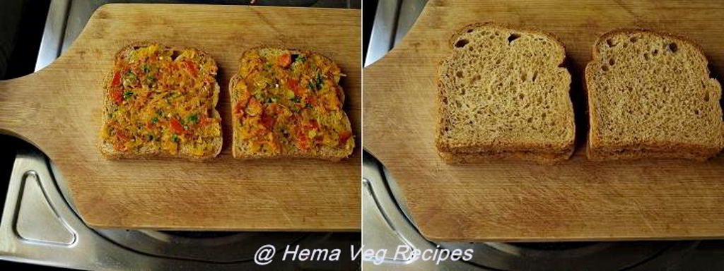 Sandwich Using Onion Tomato Carrot Sabji Preparation