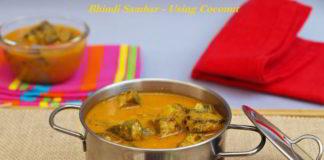 Bendekai Huli or Bhindi Sambar - Using Coconut