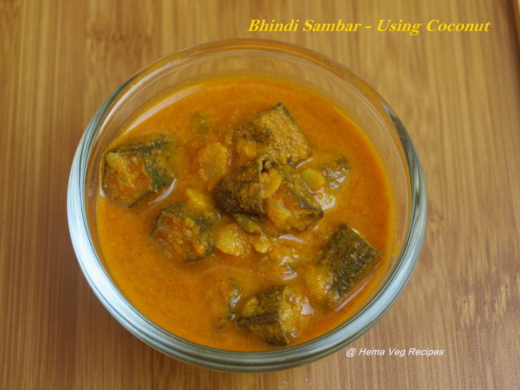 Bendekai Huli or Bhindi Sambar - Using Coconut