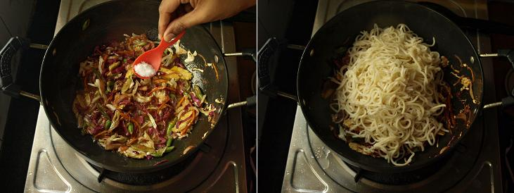 Veg Hakka Noodles Preparation