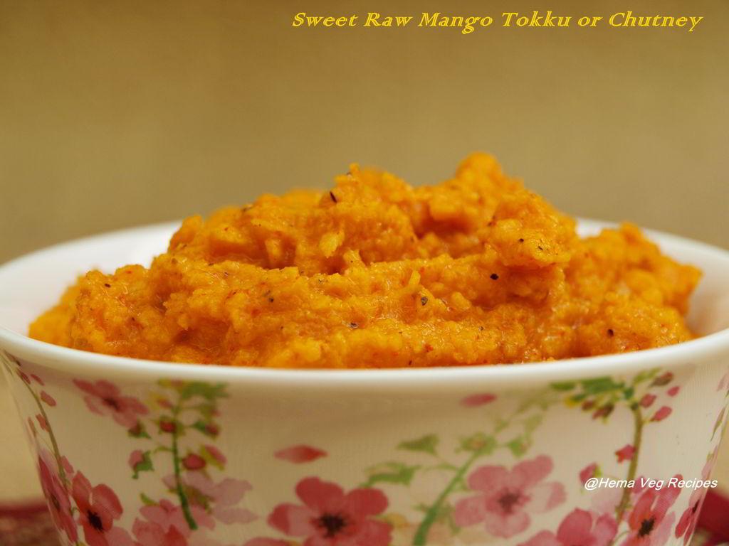 Sweet Raw Mango Tokku or Chutney