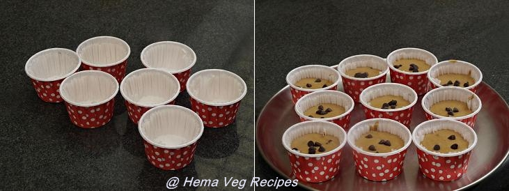 Eggless Whole Wheat Chocolate Chips Muffins Preparation